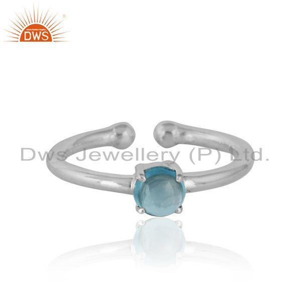 Elegant Dainty Solitaitre Ring In Silver 925 with Blue Topaz