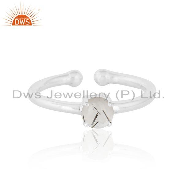 Elegant Dainty Solitaitre Ring In Silver 925 with Black Rutile
