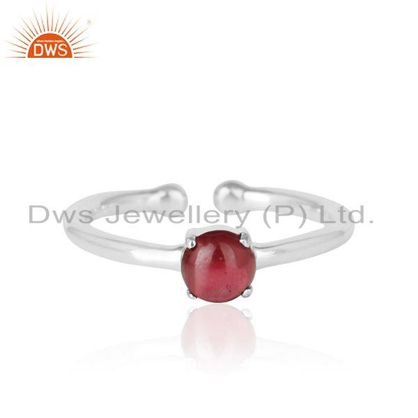 Elegant Dainty Solitaitre Ring In Silver 925 with Garnet