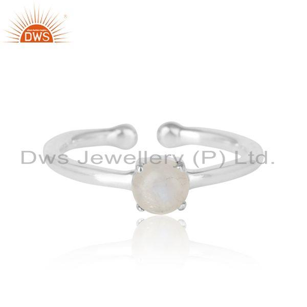 Elegant Dainty Solitaitre Ring In Silver with Rainbow Moonstone