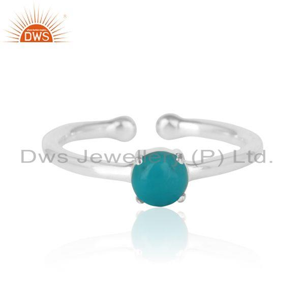 Elegant Dainty Solitaitre Ring In Silver with Arizona Turquoise