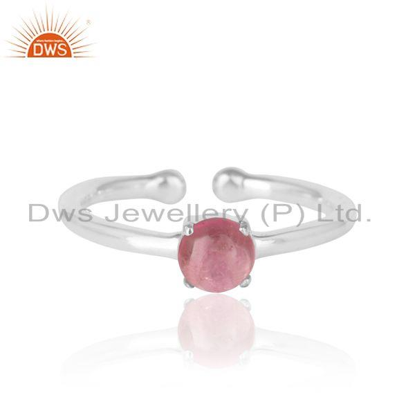 Elegant dainty solitaitre ring in silver with pink tourmaline