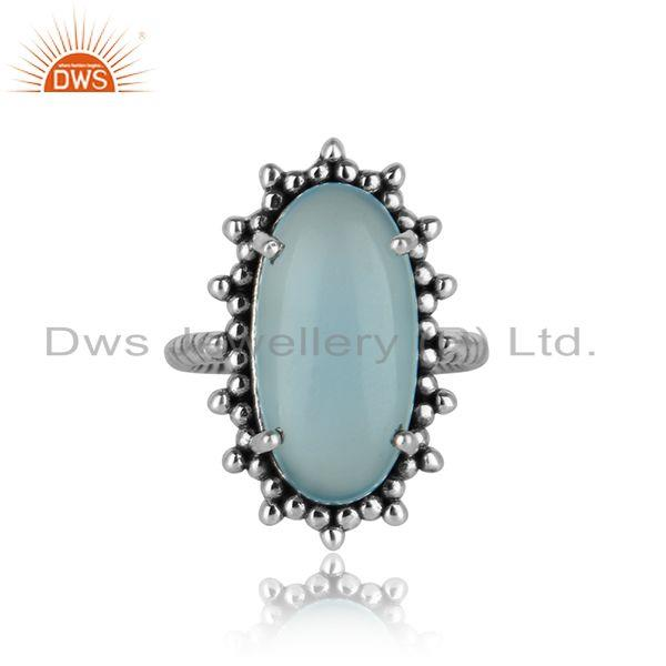 Handmade statement ring in oxidised silver 925 and aqua chalcedony