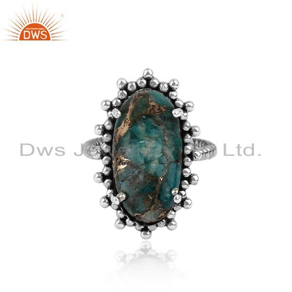 Handmade Statement Mohave Amazonite Ring in Oxidized Silver 925