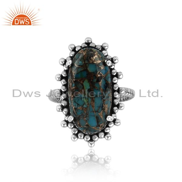 Handmade Statement Mohave Arizona Turquoise Ring in Oxidized Silver