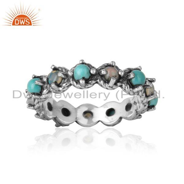 Eternity ring in oxidized silver ethiopian opal arizona turquoise