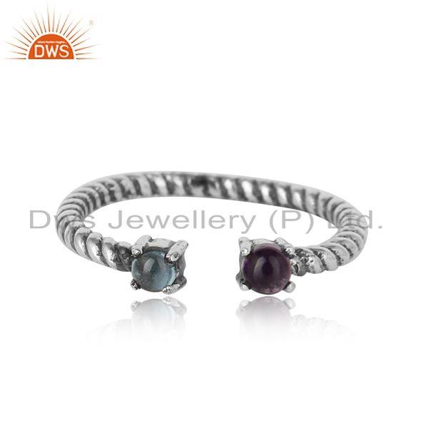 Dainty twisted ring in oxidized silver amethyst and blue topaz