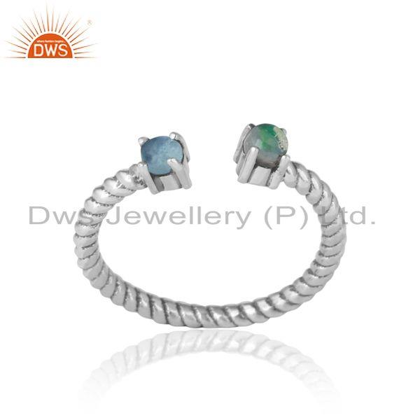 Dainty Twisted Ring in Oxidized Silver Ethiopian Opal Blue Topaz