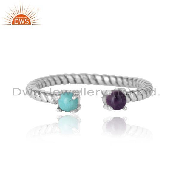 Twisted ring in oxidized silver 925 arizona turquoise amethyst