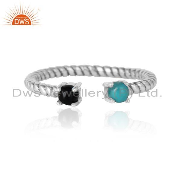 Twisted Ring in Oxidized Silver 925 Arizona Turquoise Black Onyx