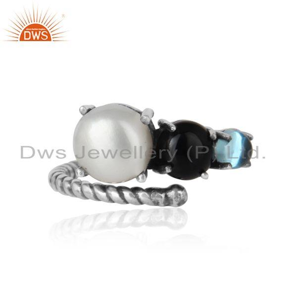 Handmade ring in oxidized silver 925 pearl blue topaz black onyx