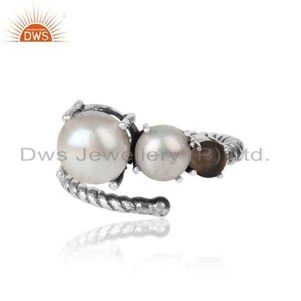Handmade Designer Ring in Oxidized Silver 925 Pearl and Smoky