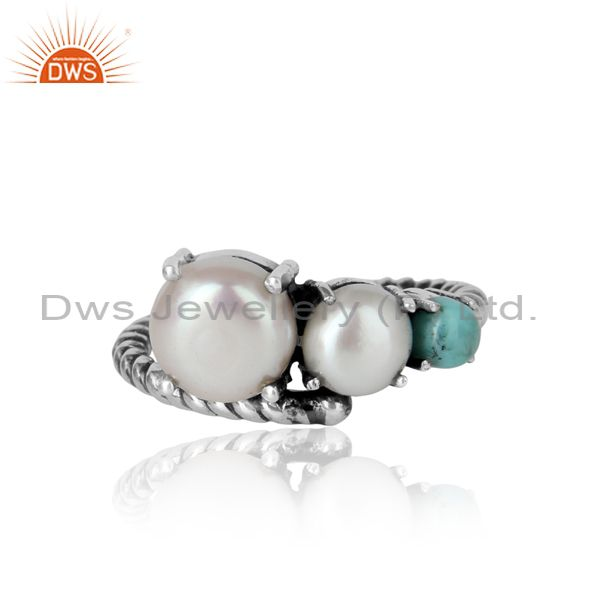 Handmade Designer Ring in Oxidized Silver Pearl Arizona Turquoise