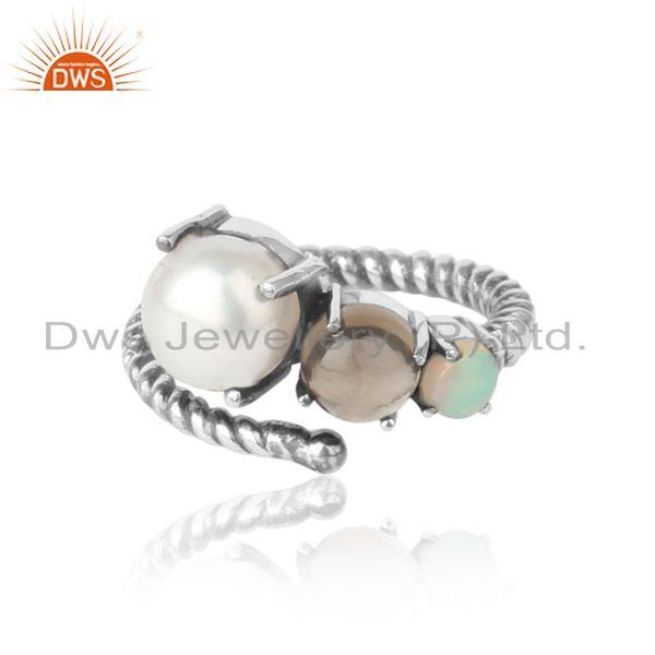Designer ring in oxidized silver 925 ethiopian opal, pearl and smoky