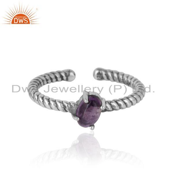 Dainty Oxidized Silver Ring Adorn with Tilted Natural Amethyst
