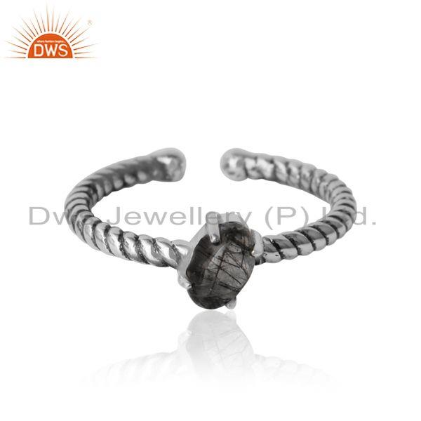 Dainty oxidized silver ring adorn with tilted natural black rutile