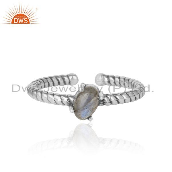 Dainty Oxidized Silver Ring Adorn with Tilted Natural Labradorite