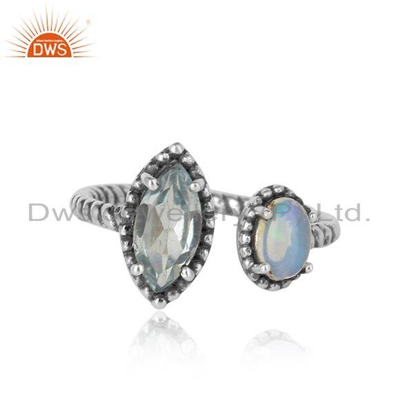 Oxidized Silver Twisted Ring with Ethiopian Opal and Blue Topaz