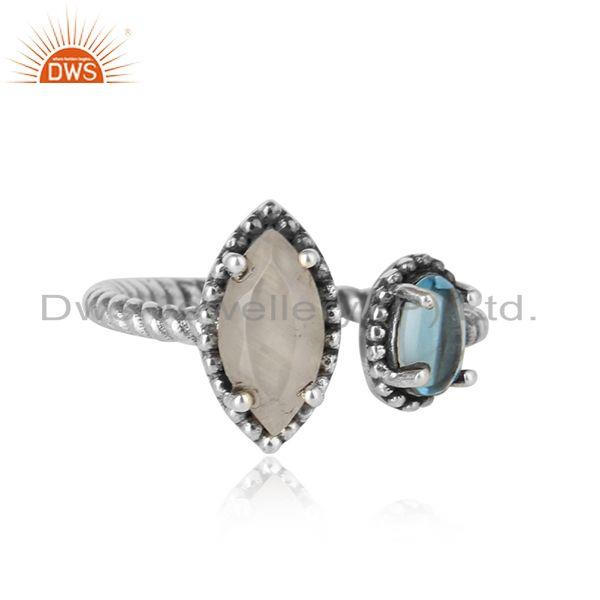 Oxidized Silver Twisted Ring with Rainbow Moonstone Blue Topaz