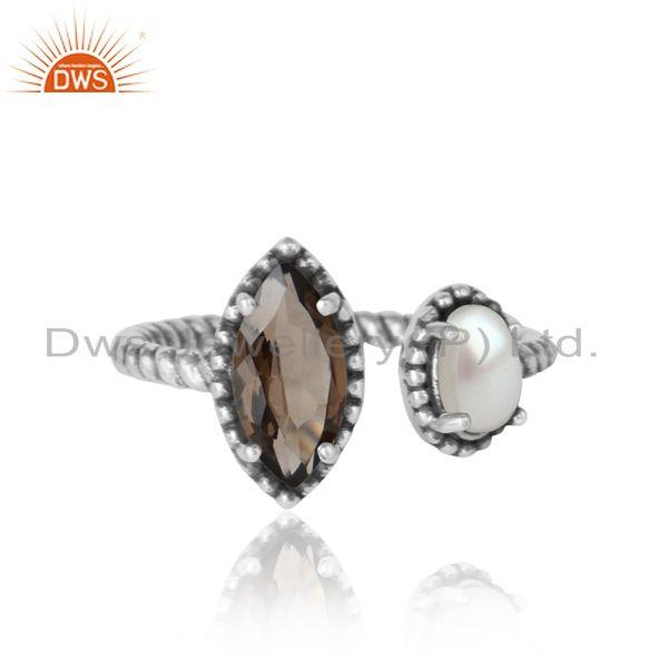 Oxidized silver 925 twisted designer ring with smoky and pearl