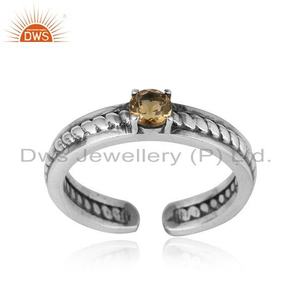 Designer twisted ring in oxidized silver 925 and citrine