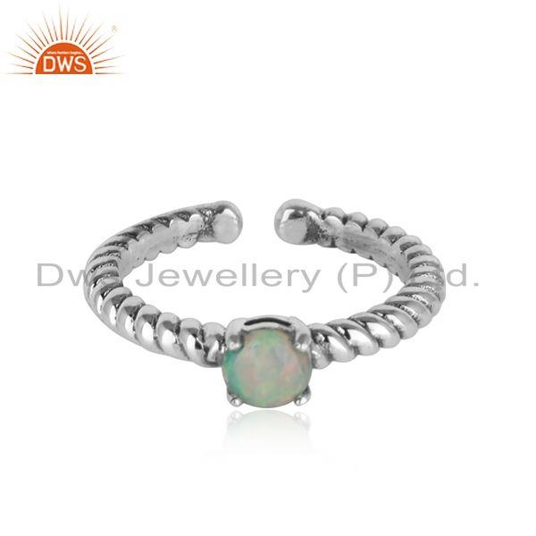 Designer twisted ring in oxidised silver 925 and ethiopian opal