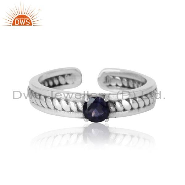 Designer twisted ring in oxidized silver 925 and iolite