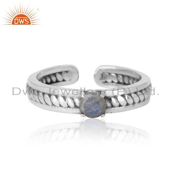 Designer Twisted Ring in Oxidized Silver 925 and Labradorite