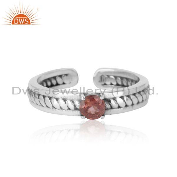 Designer twisted ring in oxidized silver 925 and pink tourmaline