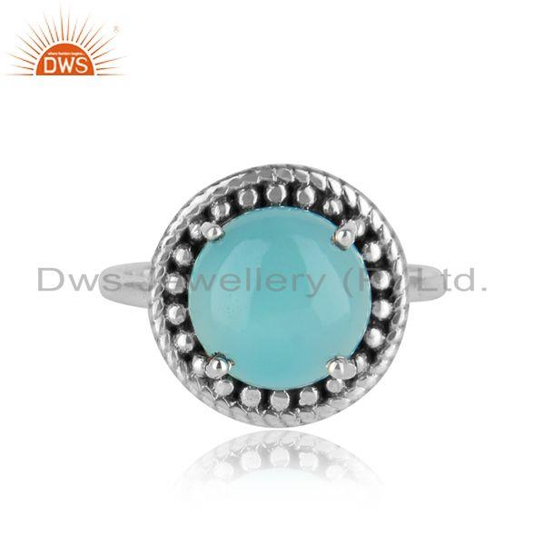Handmade Adjustable Oxidise Silver 925 Ring with Aqua Chalcedony
