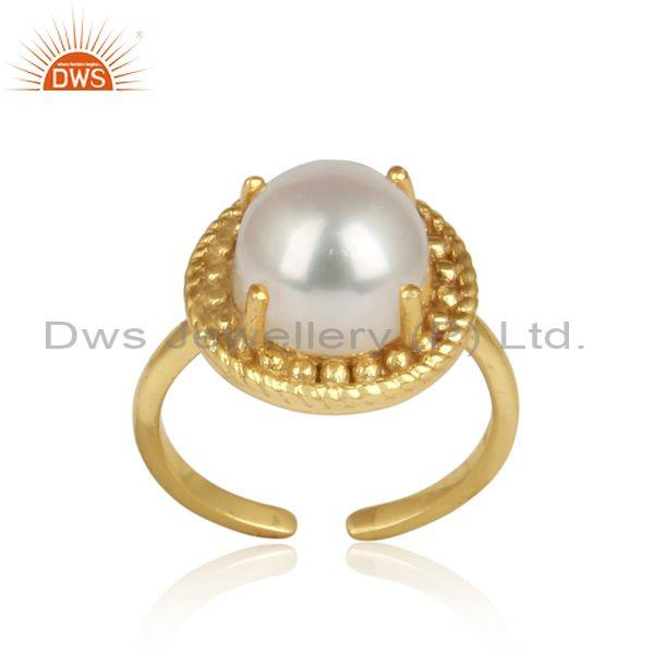 Handcrafted Adjustable Yellow Gold on Silver Ring with Pearl