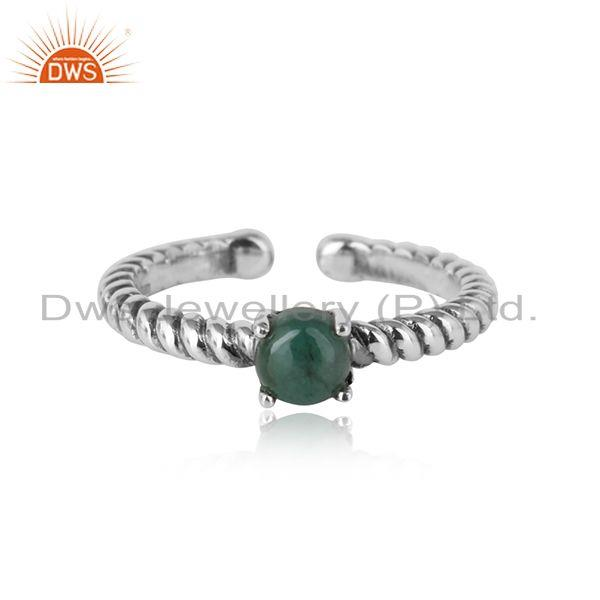 Designer textured emerald ring in oxidised silver 925