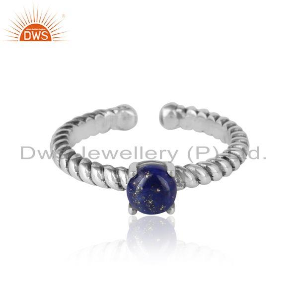 Designer Textured Lapis Ring in Oxidised Silver 925