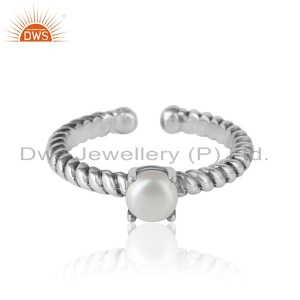 Designer textured pearl ring in oxidised silver 925