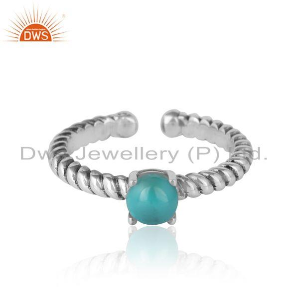 Designer textured arizona turquoise ring in oxidised silver 925