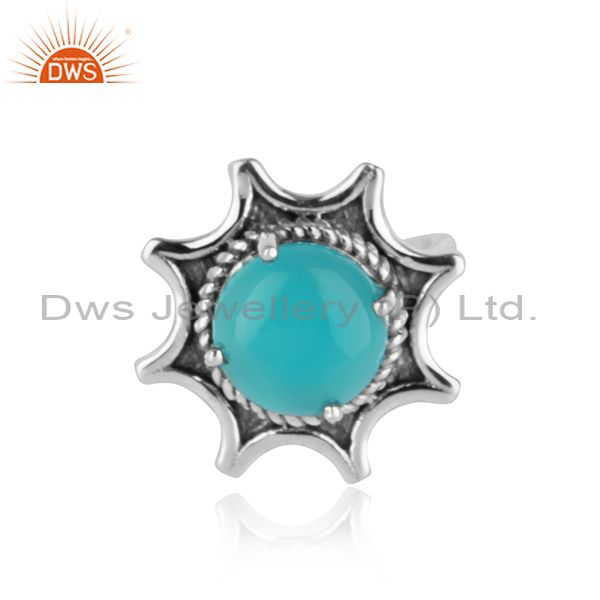 Handmade sunburst oxidised silver 925 ring with aqua chalcedony