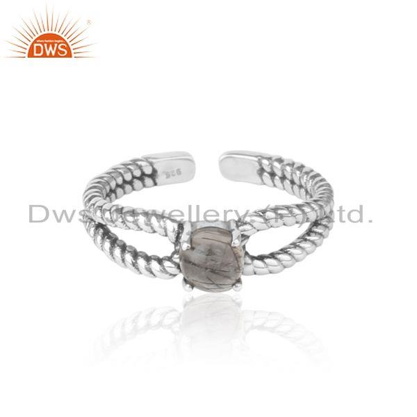 Black rutile designer twisted ring in oxidized silver 925