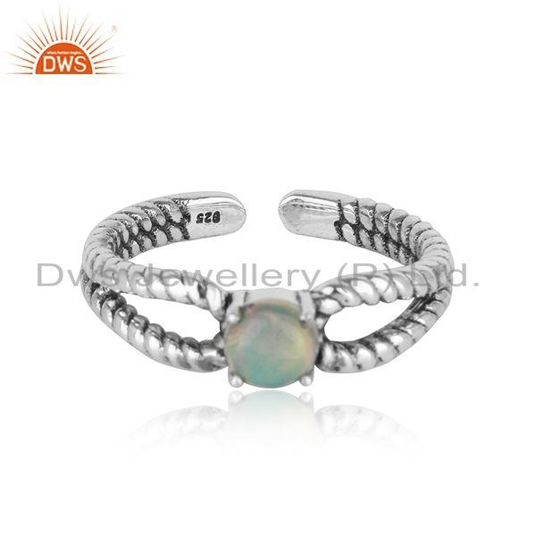 Designer Twisted Ring in Oxidized Silver 925 with Ethiopian Opal