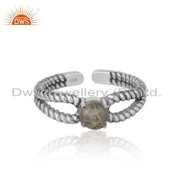 Designer Twisted Ring in Oxidized Silver 925 with Black Rutile