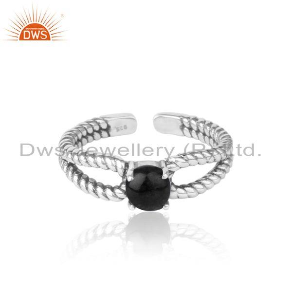 Designer Twisted Ring in Oxidized Silver 925 with Black Onyx