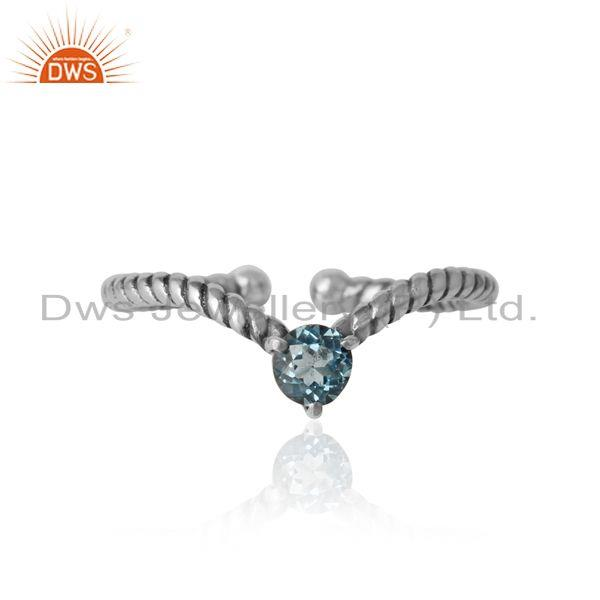 Blue topaz dainty designer twisted ring in oxidized silver 925