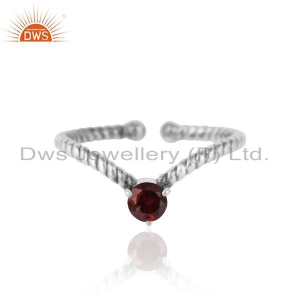 Garnet Dainty Designer Twisted Ring in Oxidized Silver 925