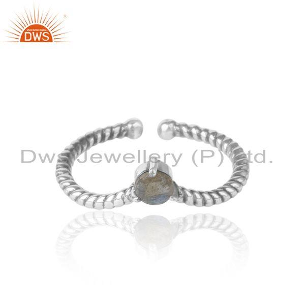 Labradorite Dainty Designer Twisted Ring in Oxidized Silver 925