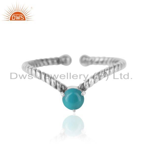 Arizona Turquoise Dainty Designer Twisted Ring in Oxidized Silver