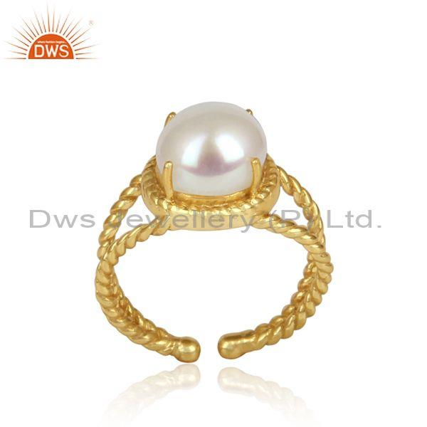 Handcrafted Split Shank Yellow Gold on Silver Ring with Pearl