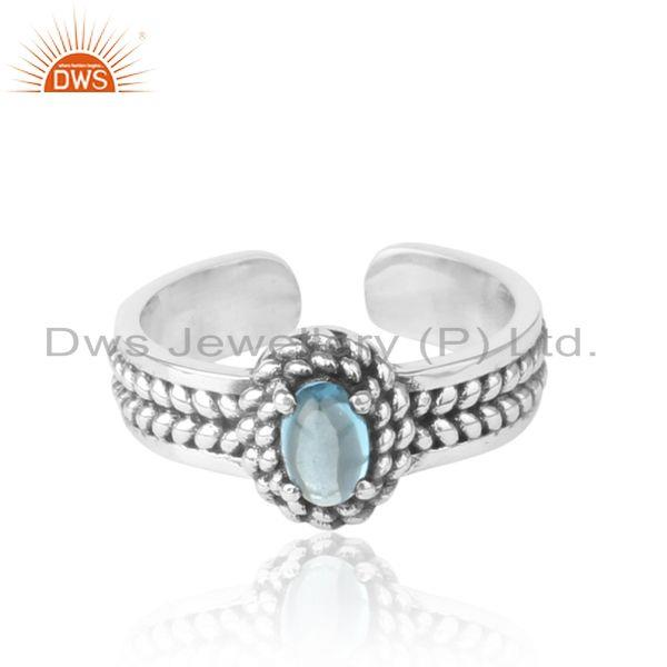 Blue Topaz Handcrafted Designer Ring in Oxidized Silver 925
