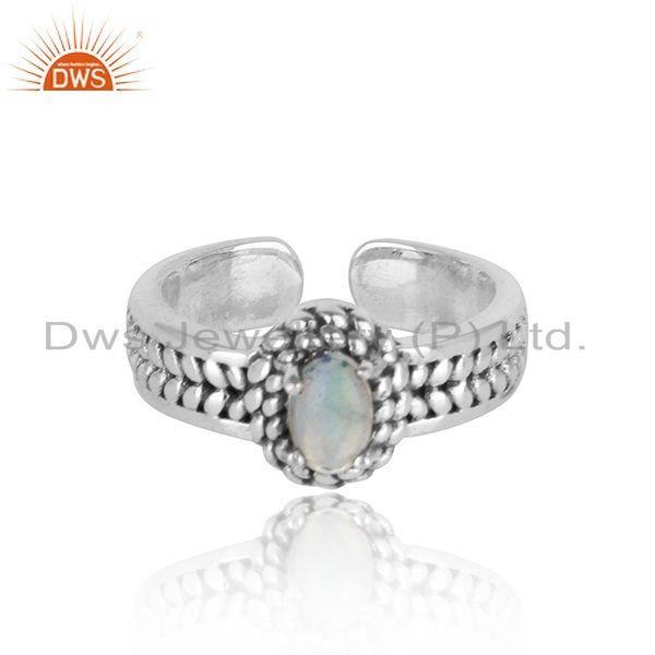 Sparkling ethiopian opal ring in silver 925 and oxidise finish