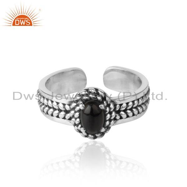Black Onyx Handcrafted Designer Ring in Oxidized Silver 925
