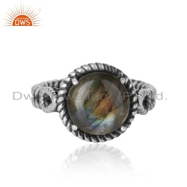 Twisted designer bold labradorite ring in oxidized silver 925