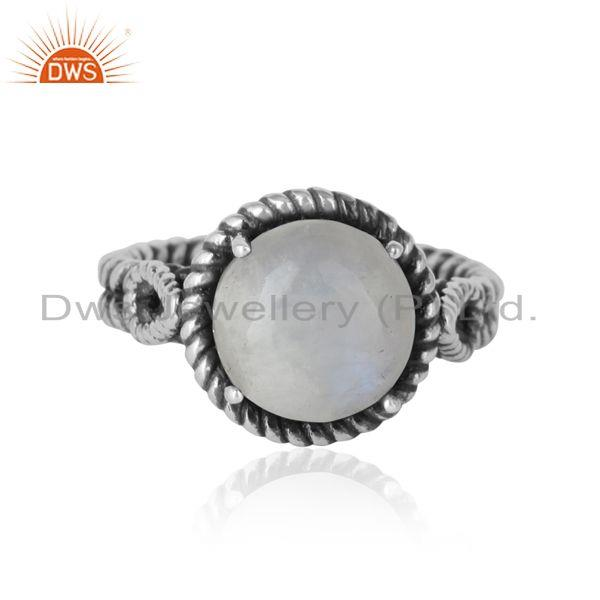 Twisted designer bold rainbow moonstone ring in oxidized silver 925
